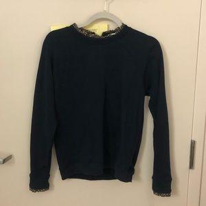 J Crew Sweatshirt Ruffle Neck Zipper Pullover